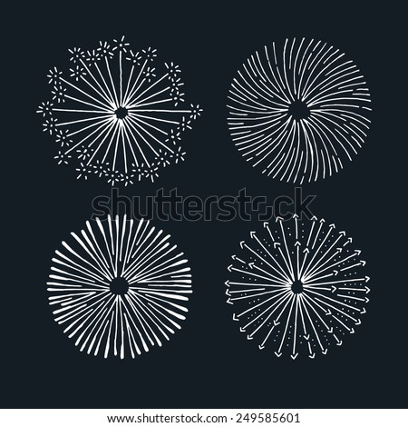 Vector fireworks elements. Hand drawn illustrations. - stock vector
