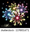 vector fireworks splash colors - stock photo