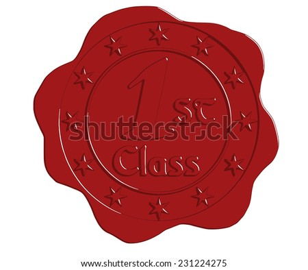 Vector First Class Red Wax Seal with Stars - stock vector