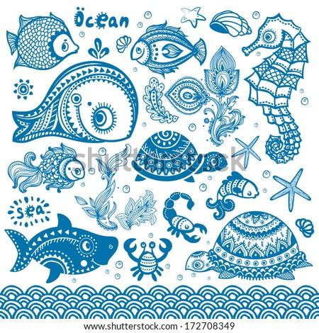 Vector fish and shells set - stock vector