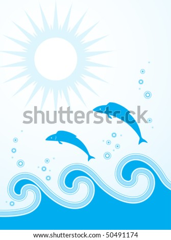 vector fishes jumping over the waves