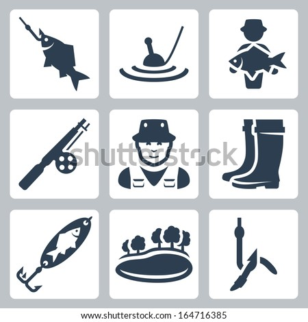 Vector fishing icons set: fish on a hook, float, big fish, fishing rod, fisherman, wading boots, spoon-bait, lake, worm on a hook - stock vector