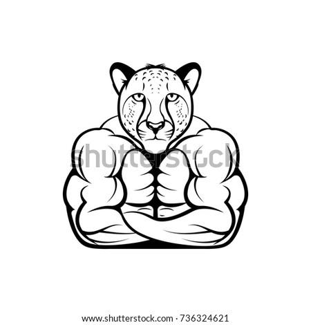 Vector Fitness Body Cheetah Head Face Stock Vector (2018) 736324621 ...