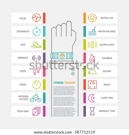 Vector fitness tracker flat ine infographic. Hand with bracelet wireless device for monitoring sport activity, calories, sleep, ingestion, steps, heartbeat. Data exchange with computer and smartphone. - stock vector