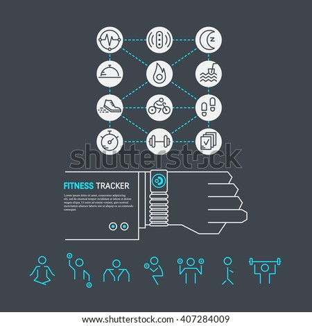 Vector fitness tracker on the wrist. Sport illustration in flat linear style with icons. Fitness device for monitoring sport activity, sleep, ingestion, distance, steps, heartbeat. Workout gym poses. - stock vector