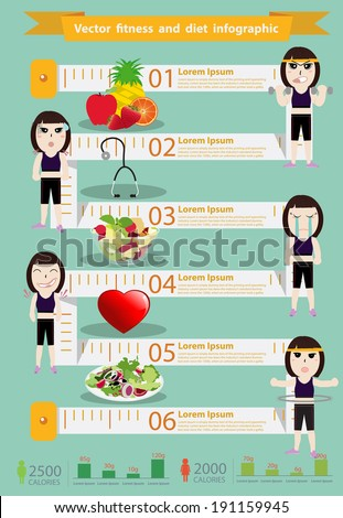 Vector fitness woman and diet info graphics, Modern design template workflow layout, diagram, step up options, Vector illustration template design - stock vector