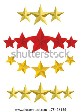 Vector Five golden stars - stock vector