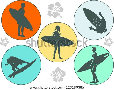vector five signs of surfing - stock vector