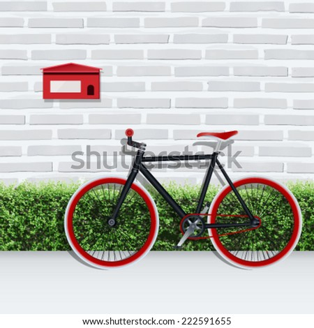 Vector fixed gear bicycle and red mail box with green shrub fence and white brick wall texture background. - stock vector