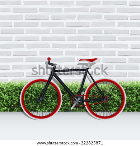 Vector fixed gear bicycle with green shrub fence and white brick wall texture background. - stock vector
