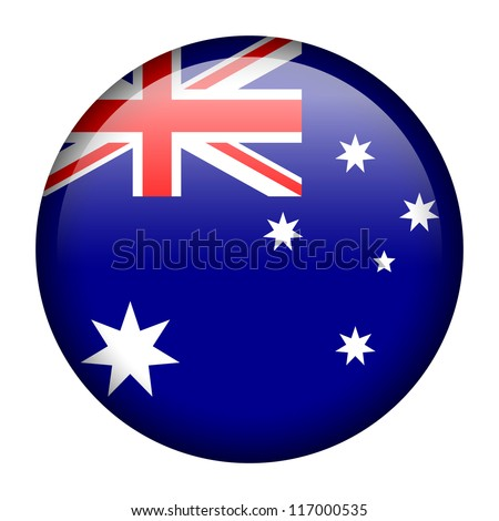 Vector flag button series - Australia - stock vector