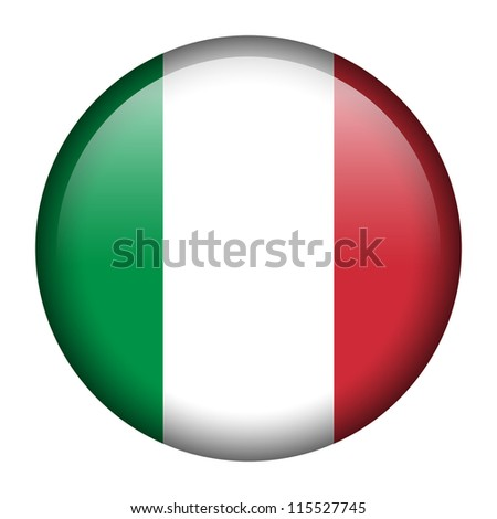 Vector flag button series - Italy - stock vector