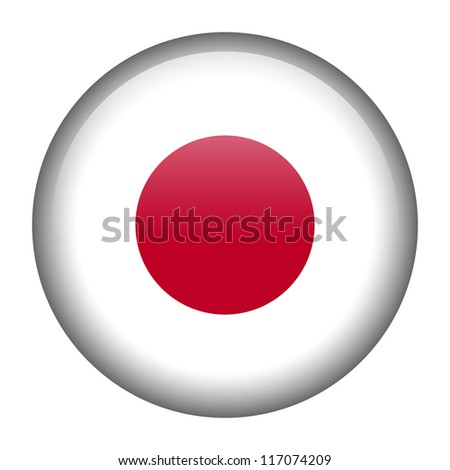 Vector flag button series - Japan - stock vector