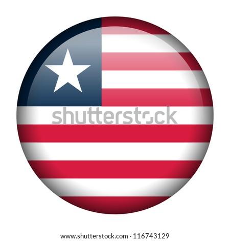 Vector flag button series - Liberia - stock vector