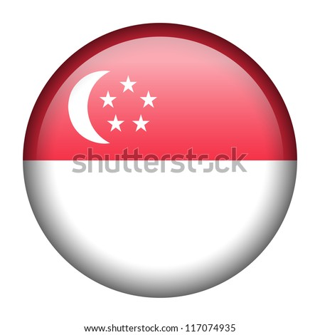 Vector flag button series - Singapore - stock vector