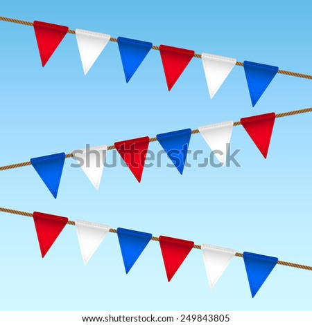 vector flag garland for usa independence day - stock vector