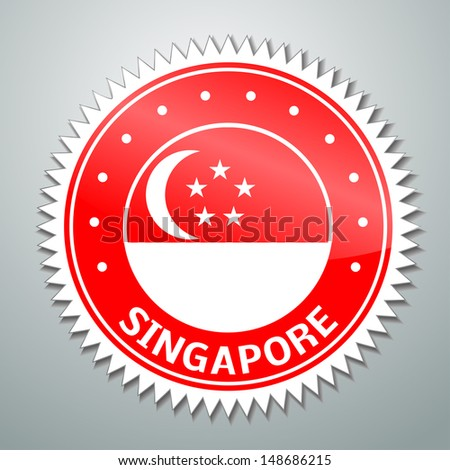Vector flag label series - Singapore - stock vector