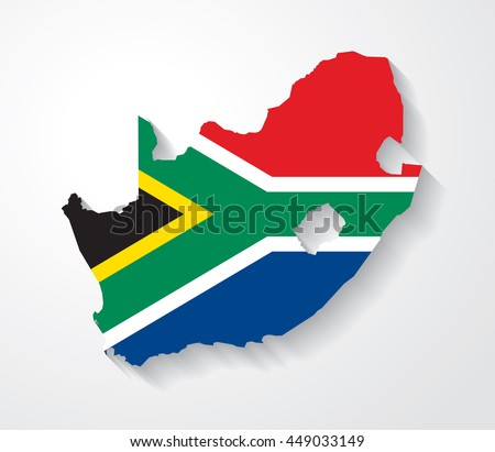 Vector flag map of South Africa with cast shadow effect