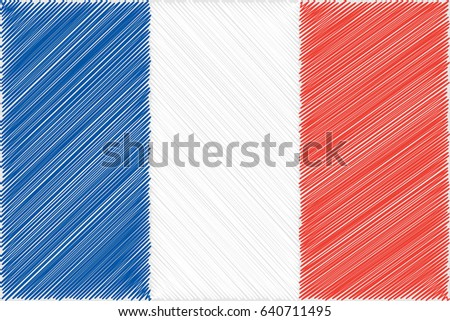 Vector flag of  France pencil drawing vector illustration. Using for decoration works.