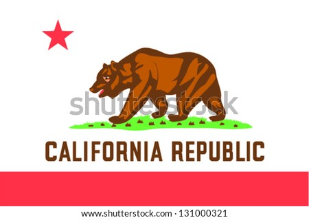Vector flag of the United States of America State California - stock vector
