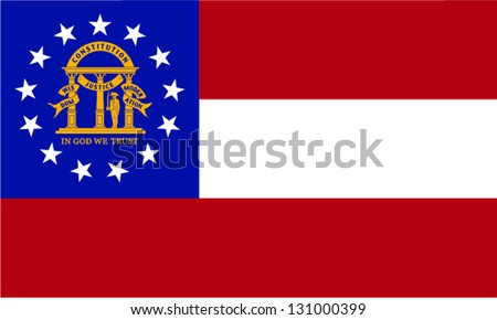 Vector flag of the United States of America State Georgia - stock vector
