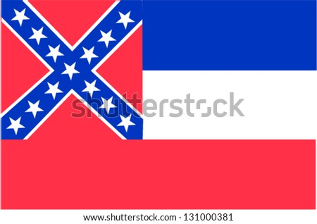Vector flag of the United States of America State Mississippi - stock vector