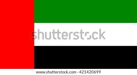 Vector flag of UAE, United Arabian Emirates flag illustration. Official national vector flag of UAE country - stock vector