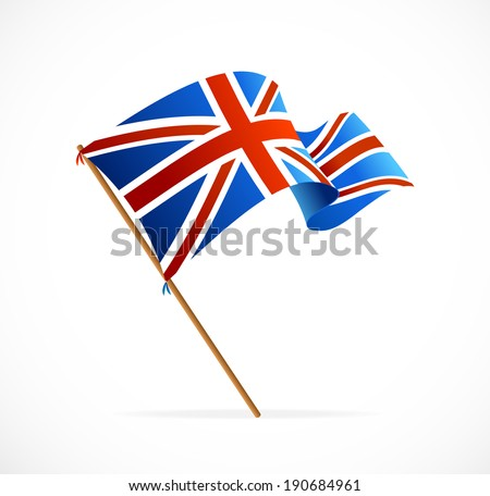 Vector Flag of UK isolated on white - stock vector