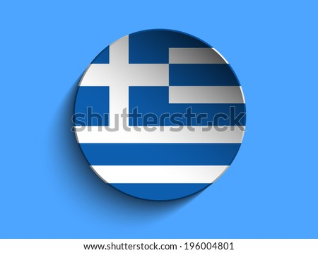 Vector - Flag Paper Circle Shadow Button Greece - stock vector
