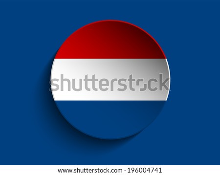 Vector - Flag Paper Circle Shadow Button Netherlands - stock vector