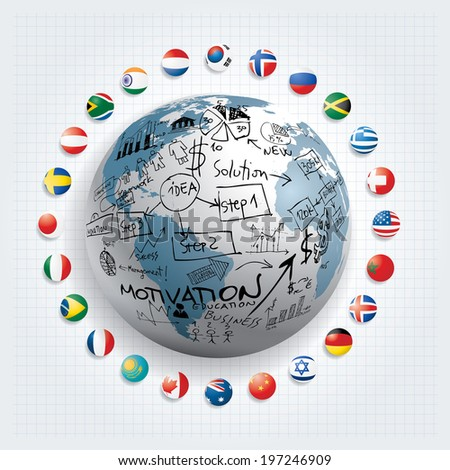 Vector flags and globe with hand drawn business icons. - stock vector