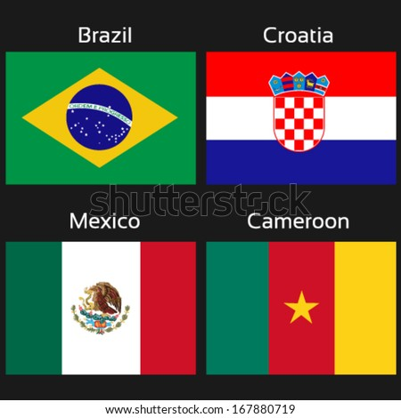 Vector flags - group A - Brazil, Croatia, Mexico, Cameroon - drawing including all details    - stock vector