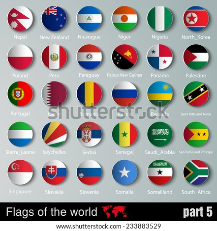 vector Flags of all countries  with shadows - stock vector