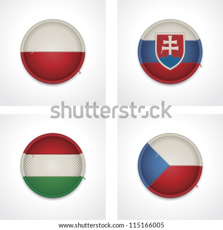 Vector flags of countries as fabric badges - stock vector