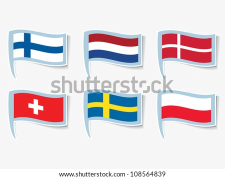 Vector flags of Finland, Netherlands, Switzerland, Sweden, Denmark, Poland - stock vector