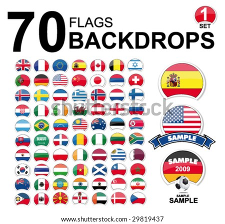 vector flags of the world - design set - stock vector