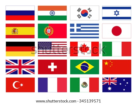 Vector flags of the world. Icons of flags in flat style. Simple vector flags of the countries.