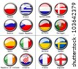 Vector flags on football 2012 - group A, B, C, D - stock photo