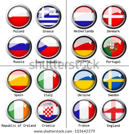 Vector flags on football 2012 - group A, B, C, D