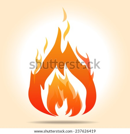 vector flame, fire symbol, burning - EPS10 - stock vector
