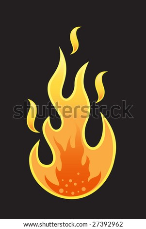 Vector flame on black background - stock vector