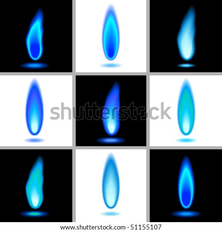 Vector flames in blue. JPG and TIFF image versions of this vector illustration are also available in my portfolio. - stock vector