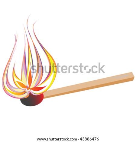 Vector flaming match - stock vector