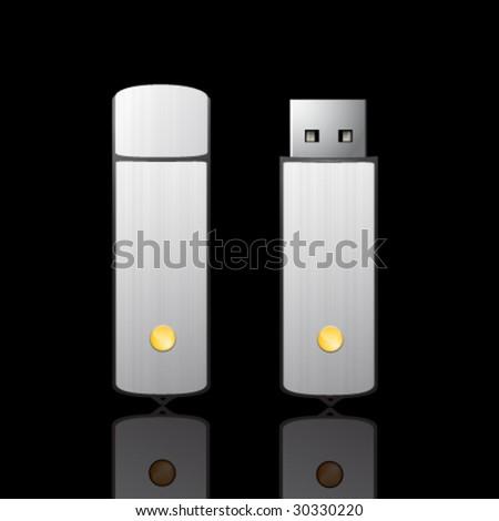 Vector flash drive illustration - stock vector