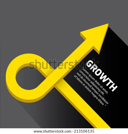 vector flat abstract Business graph and chart on black background. vector golden grow up arrow. - stock vector