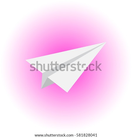 Vector flat airplane icon on pink white gradient background