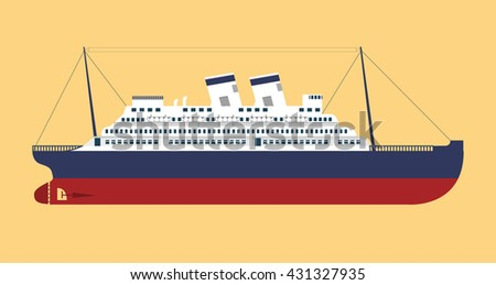 Vector flat an illustration with the image of the retro cruise liner - stock vector