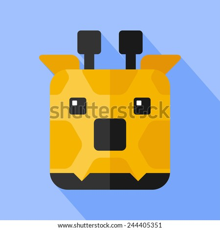 Vector flat animal. Square giraffe icon. Flat zoo. Eps10 - stock vector