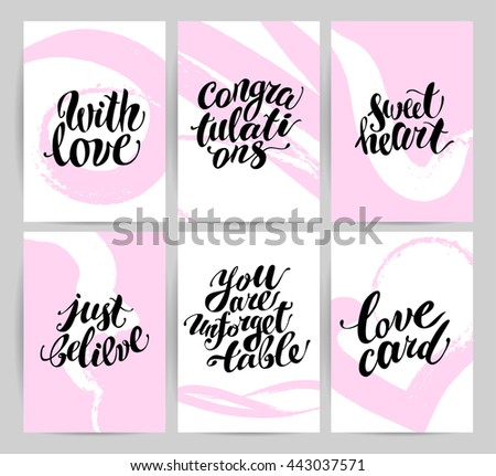 Vector flat artistic creative cards with lettering. Hand written font, text message, phrase. Love card, postcard, congratulation, invitation, party flayer. Banner, advertising, poster, placard design. - stock vector