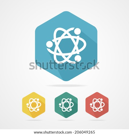 Vector flat atom icon set on white - stock vector